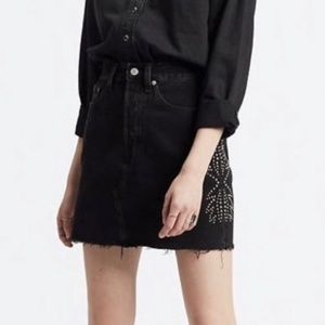 Levis Studded High-Rise Deconstructed Mini Skirt